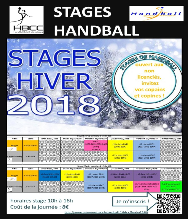 Planning stages handball vacances